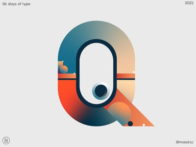 36 Days of Type Q graphic design flat custom logotype logo custom type lettering vector colours typeface gradient design 2d letters typography