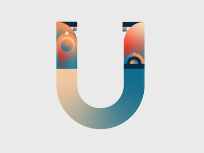 36 Days of Type, letter U graphic design flat custom logotype logo custom type lettering vector colours typeface gradient design 2d letters typography
