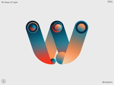 36 Days of Type, letter w graphic design flat custom logotype logo custom type lettering vector colours typeface gradient design 2d letters typography
