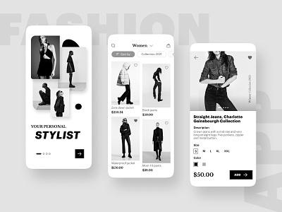 Fashion app case uxdesign cleanui webdesign monochrome wear e-commerce ecommerce fashion uiux branding design graphic design ui