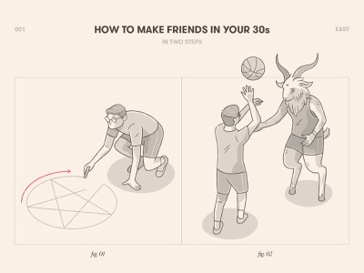 How to Make Friends in Your 30s pentagram basketball baphomet instructions guide illustration