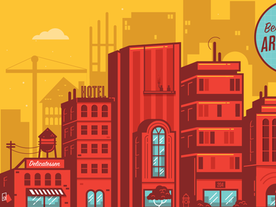 City building city water tower construction architecture tree hydrant illustration hotel