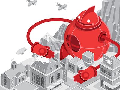 Robo Mural robot city giant grub hooch building biplane blimp mountain mural illustration isometric