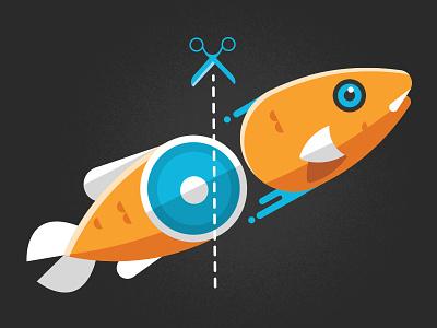 Fish Chop!  fish scissors half illustration infographic slice