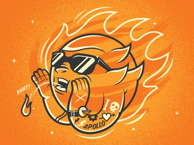 Sunspit sun spit tattoo fire sunglasses illustration skull apollo sun dial burn