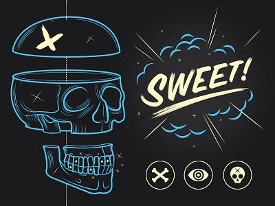 Sweet! skull bones boom sweet illustration eye grill apparel