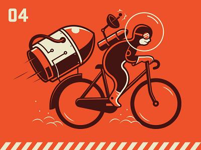 Moon Bike illustration moon bike rocket space artcrank