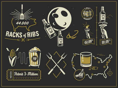 Pieces pig popcorn illustration moon map whiskey drink space