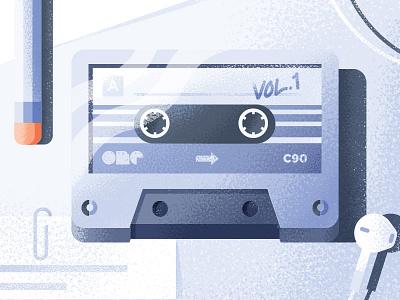 Cassette  design 1980 pencil texture illustration cassette