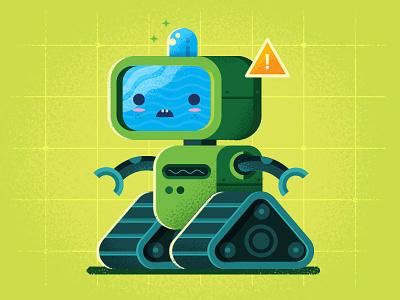 SadBot 9000 treads tv illustration robot