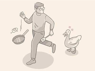 Angry Duck run egg duck illustration
