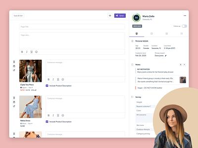 E-commerce Communication Platform recommendations shopping conversations ecommerce customers tagging folders badges messaging ui