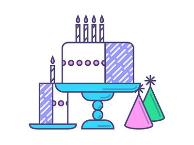Happy Birthday birthday illustration party cake