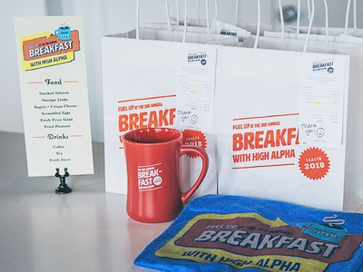 Saastr Swag bags t-shirt menu mug route 66 swag breakfast events diner