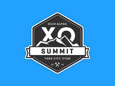 XO Summit Badge illustration banner hexagon adventure badge mountains