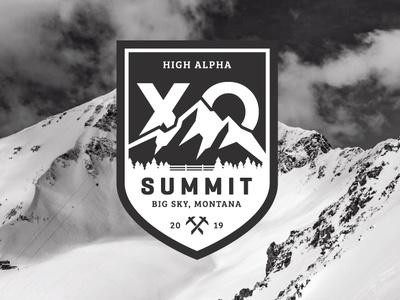 XO Summit 2019 mountains ranch logo badge branding montana big sky events brand