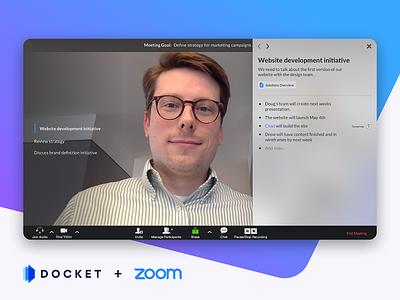 Docket + Zoom Integration meeting note-taking webcam overlay user interface ui integration zoom