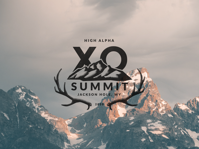 XO Summit 2020 print stipples texture outdoors badge wyoming event logo antlers elk mountains jackson hole