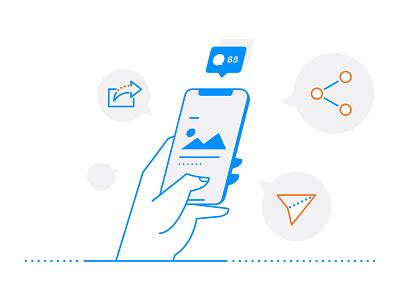 Social Sharing mobile phone icons share illustration cellphone hand line art social media