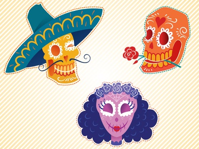 Funny Sugar Skulls rose sombrero mexican character flower trick-or-treat spooky creepy skull sugar calavera halloween