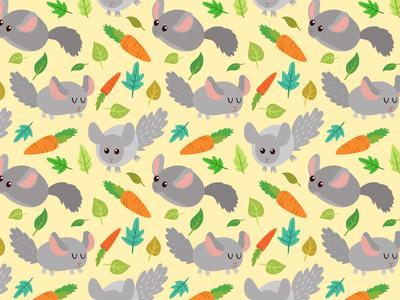 Cute Pattern love animal fluffy cute illustration pattern rabbit bunny chinchilla