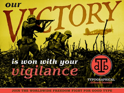 TDB – Victory poster typographical defense bureau poster war fight type soldier