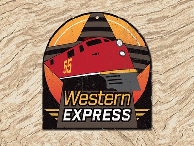 Western Express baggage label train railway engine express