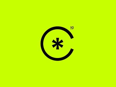 C*19 covid 2019 c illustration typography emblem brand mase logotype letter monogram symbol logo
