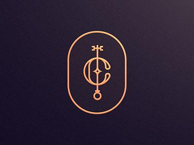 C c key emblem illustration mase logotype letter symbol monogram logo