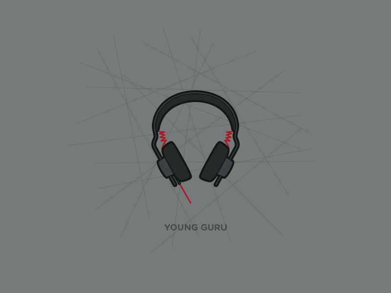 Young Guru Headphones By AIAIAI headphones illustration music production