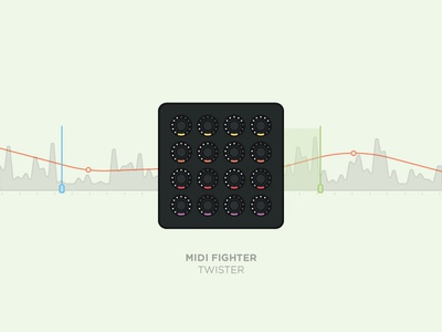 Midi Fighter Twister dj tech tools midi fighter music traktor controller illustration