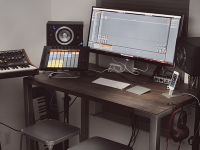 Home Office Setup ableton push midi music production design home office