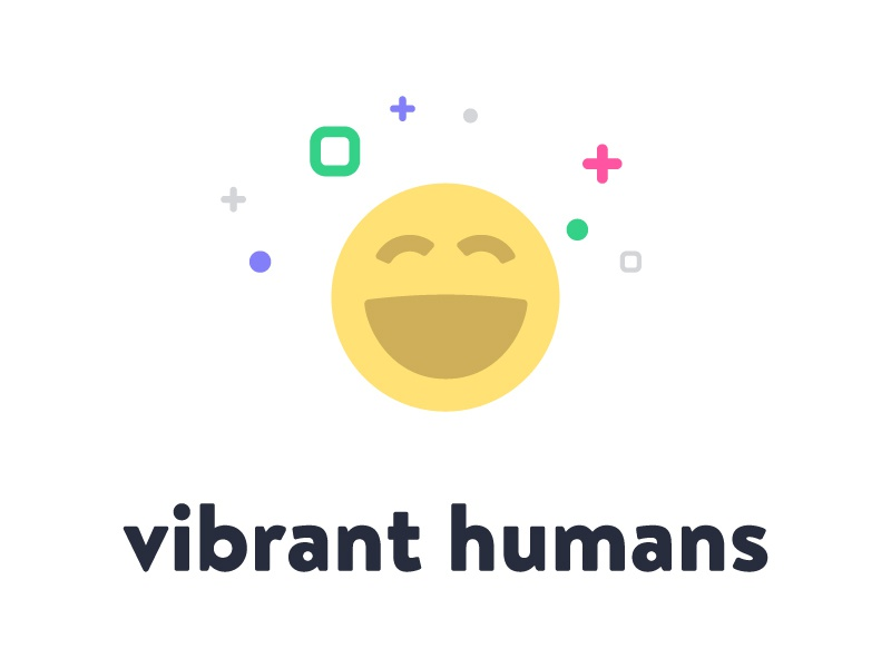 Vibrant Humans happy emoji branding brand design logo
