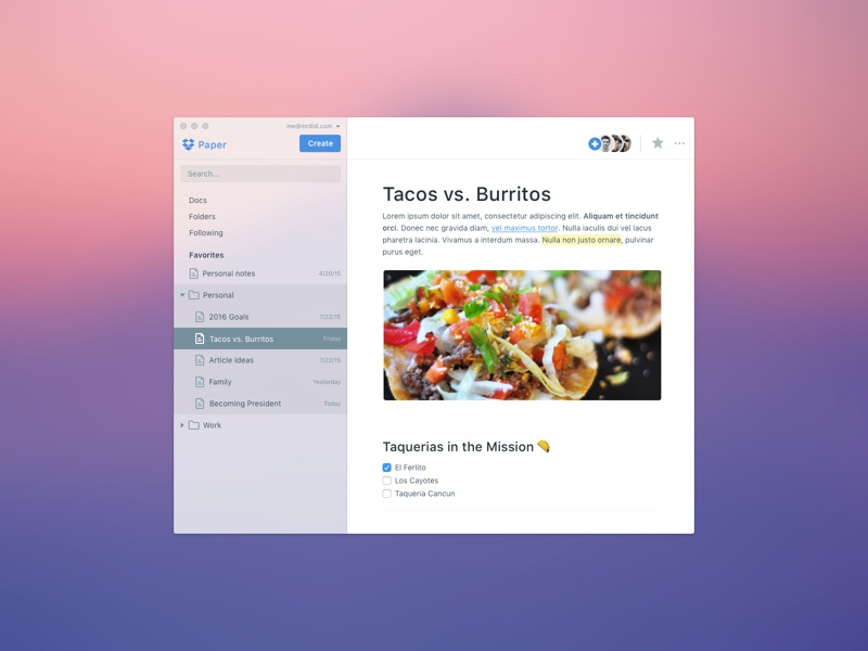 Dropbox Paper for Mac share notes document docs google dropbox paper dropbox mac app