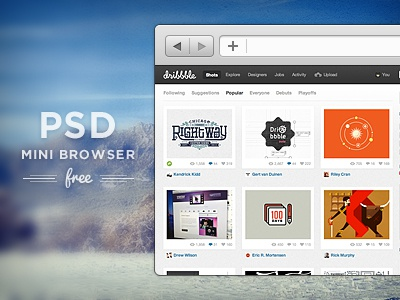 FREE PSD! Mini Browser ui ux web psd free download