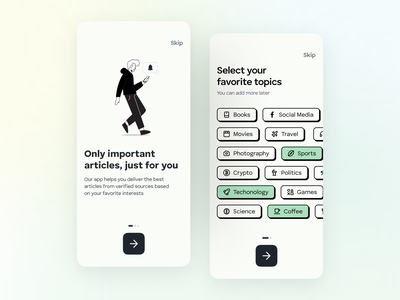 Newsfeed onboarding concept idea uiuxdesign illustration mobile design design minimal interface ui inspiration