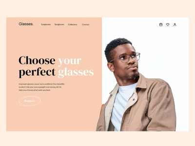 Glasses e-commerce hero section uiux home page hero section landing page web website branding ui