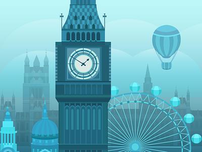 Illustration of London eye bridge united landmark kingdom uk britain london bridge london bus london eye london card postcard design postcard flat vector illustration
