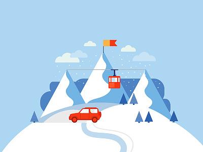 Snowy Mountains blue resort vector iilustration illustration snowboard skiing alpine snow snowy mountain