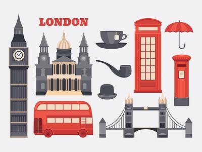 London illustration red bus flat booth telephone england big ben britain great britain english uk illustration london