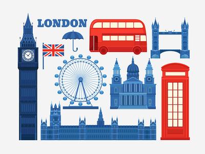 London red bus eye booth telephone england big ben britain great britain english uk illustration london