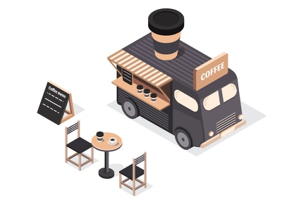 Set of isometric illustrations of the food trucks 3d isometric isometry illustration truck food cup of coffee cafe black cup bus coffee
