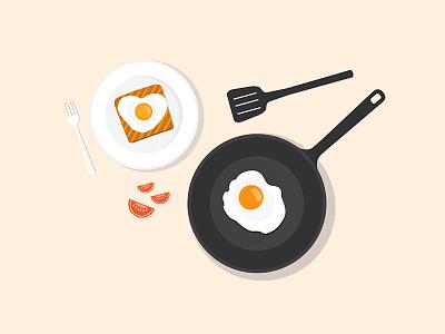 Flat illustration - breakfast lunch top dish pan fried egg toast egg omelette omelet breakfast flat illustration
