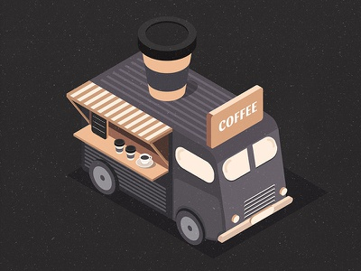 Сoffee 3d isometric isometry illustration truck food cup of coffee cafe black cup bus coffee