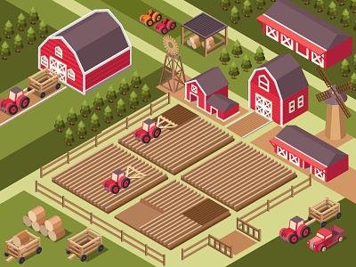 Isometric illustration of a farm eco vector illustration hay mill barn agriculture pickup retro gardener farmer field tractor 3d farmhouse farming farm vector isometry isometric illustration