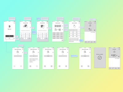 Wireframes of an almost text-free Bitcoin wallet ux wallet bitcoin wireframe