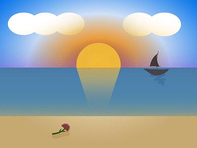 Textured sunset grainy gradient texture illustration flat design
