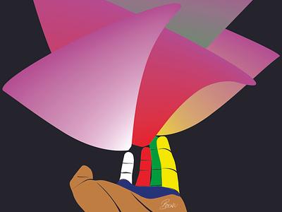 Hand of color design vector art illustration
