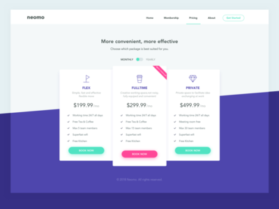 Pricing co working space website ux ui table shuttle pricing price plan illustration