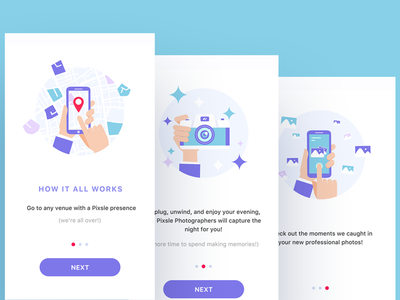 Pixsle Onboarding trend photo photographer pixsle onboarding notifications mobile colorful illustration ios